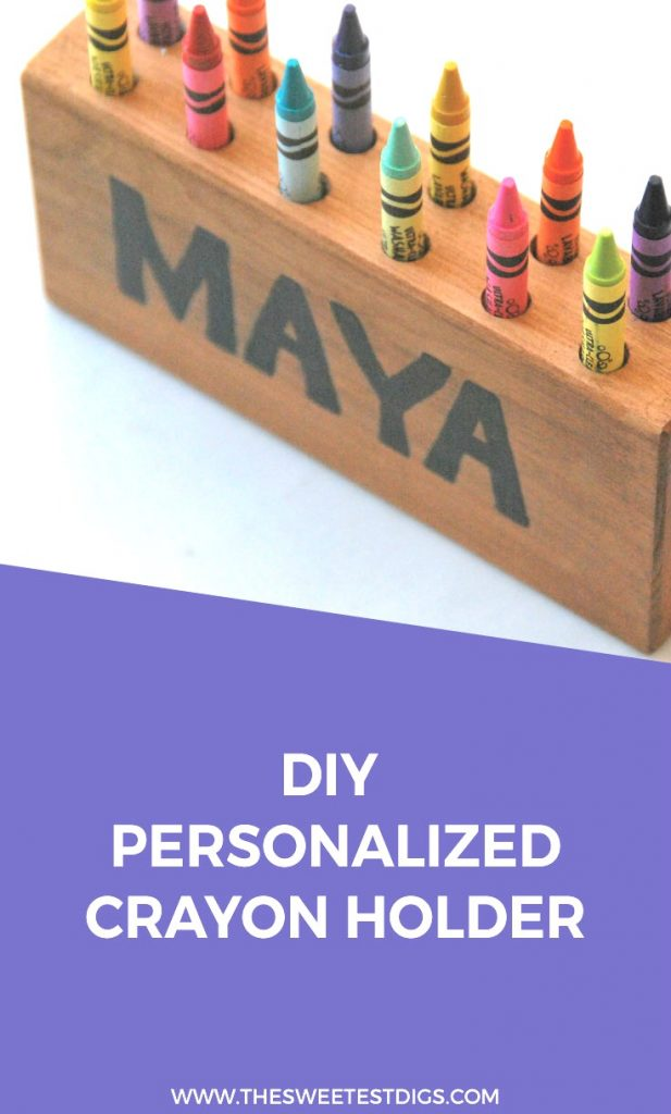 Make this cute DIY wood crayon holder as a kids handmade gift idea. Could work as a pencil holder or paintbrush holder too! Personalize it with a name for a custom gift. Click through for the step by step tutorial!