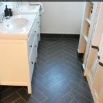 bathroom design: herringbone tile floor + IKEA vanities
