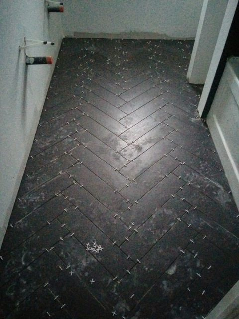 herringbone tile floor. Guy Who Does A Perfect Job\u2026. So We Were More Than Happy To Pay Him Lay All The Tile For Us. He Busted Out Herringbone Floor In Day. NBD. H