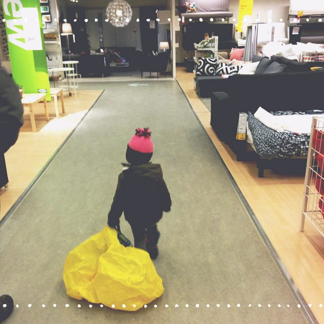 shopping at IKEA with a toddler