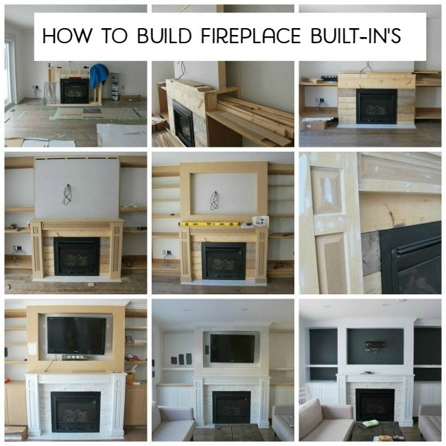 How we built our living room's fireplace built-in shelving with space for an inset TV, cabinetry and shelves.