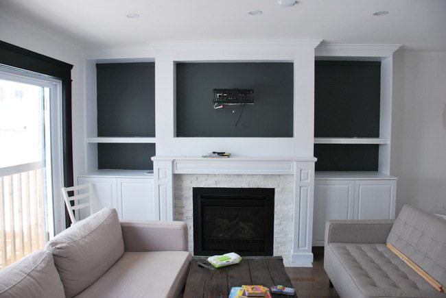 fireplace built in shelving 11 - via the sweetest digs