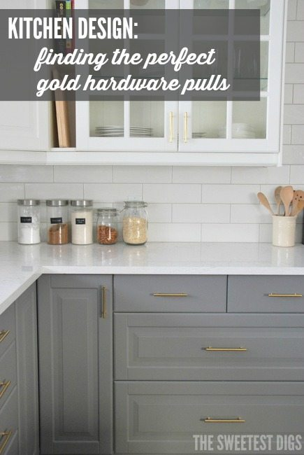 kitchen design, gold hardware pulls, gray and white cabinetry, IKEA kitchen