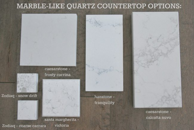 marble lookalike quartz countertop options via the sweetest digs