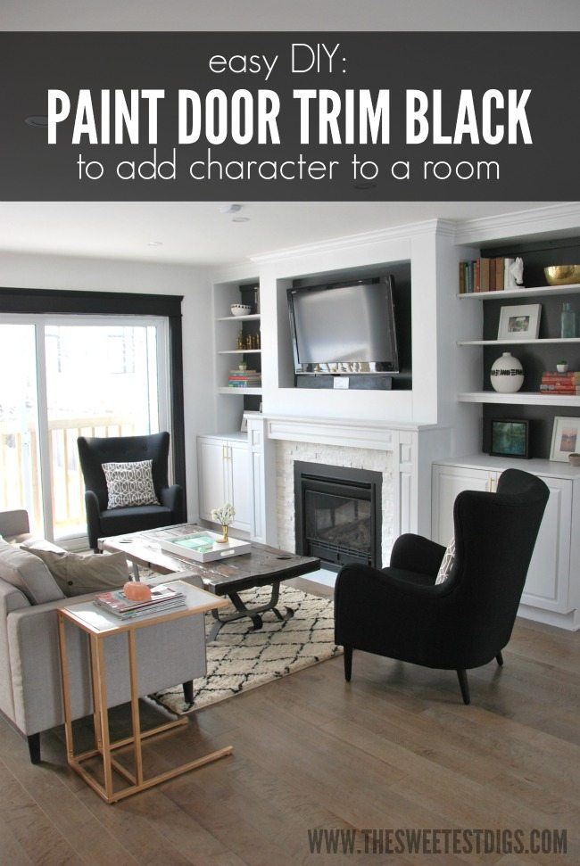 painting door trim black - via the sweetest digs