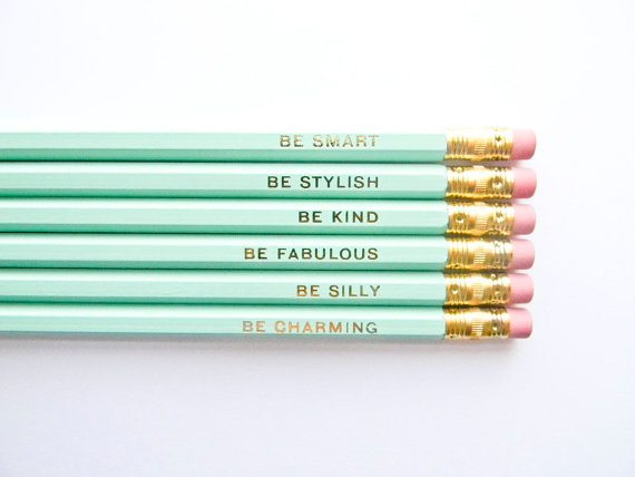 gentle reminders pencil set - via the sweetest digs
