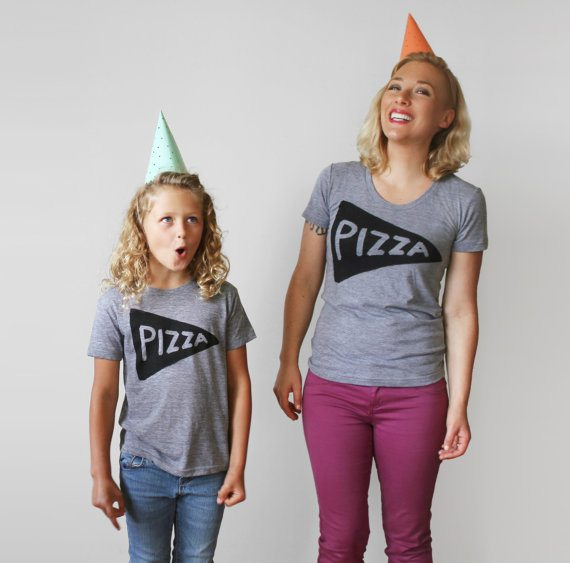 matching pizza tee shirts for mother's day - via the sweetest digs