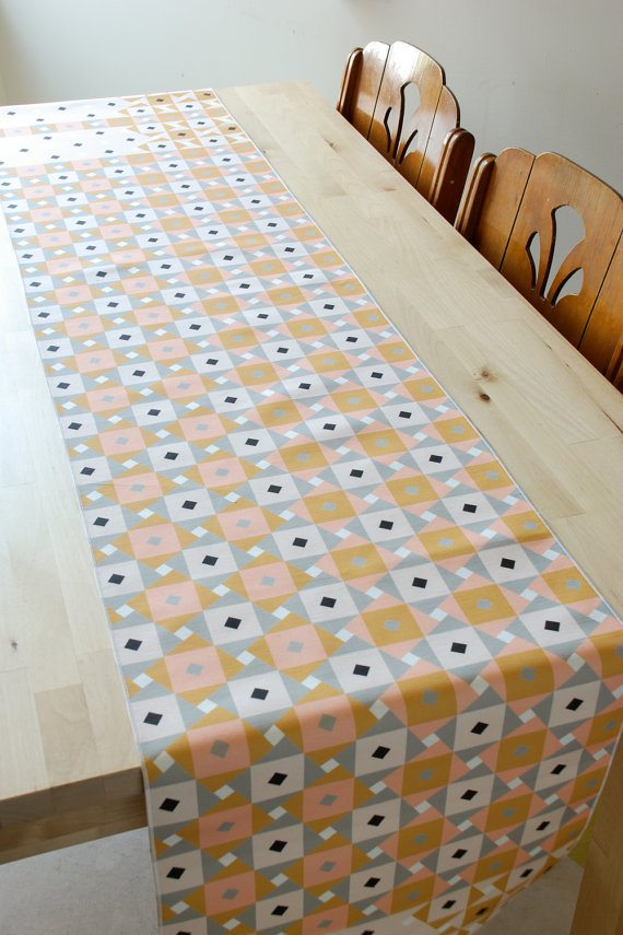 pink geometric table runner - - via the sweetest digs