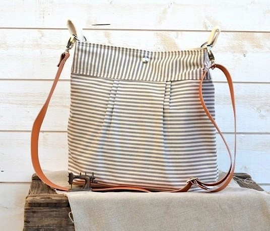 striped diaper bag on etsy - via the sweetest digs