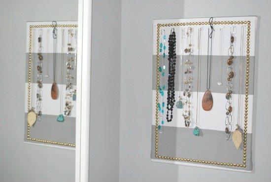 fabric bulletin board necklace holder