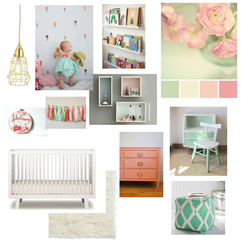 design inspiration! a pink + mint + white girl nursery design moodboard via the sweetest digs