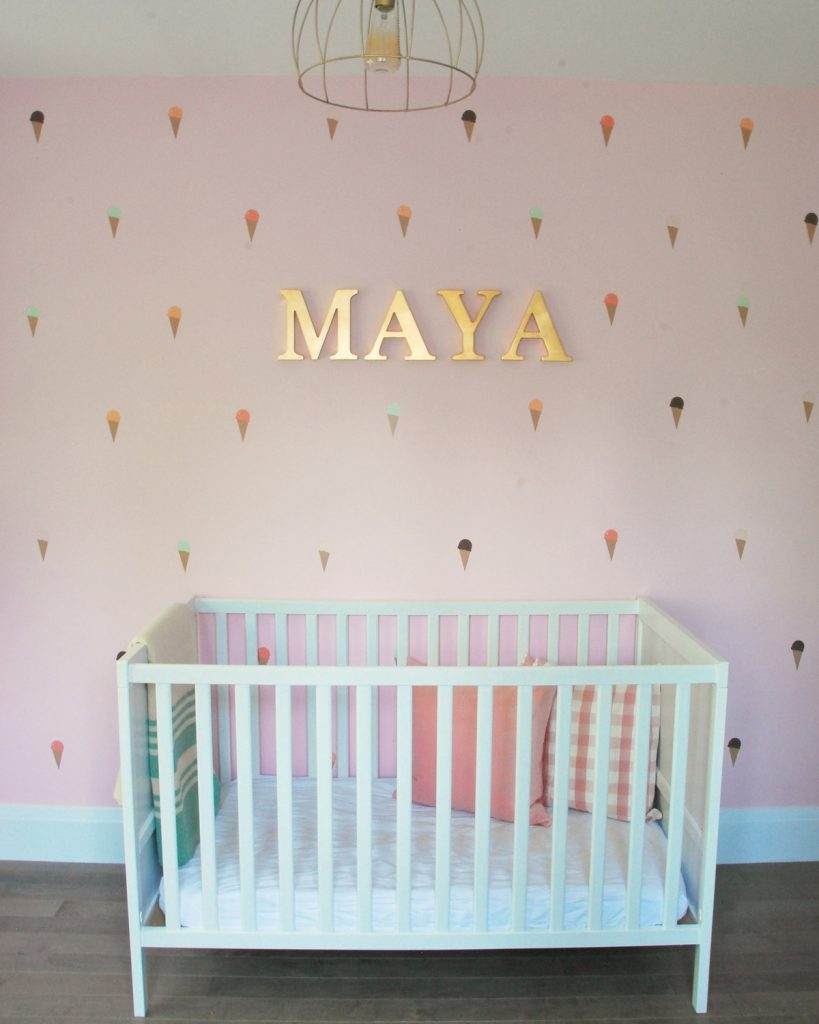 Maya 39 s bright and cheerful diy nursery the sweetest digs Kids room wall painting design