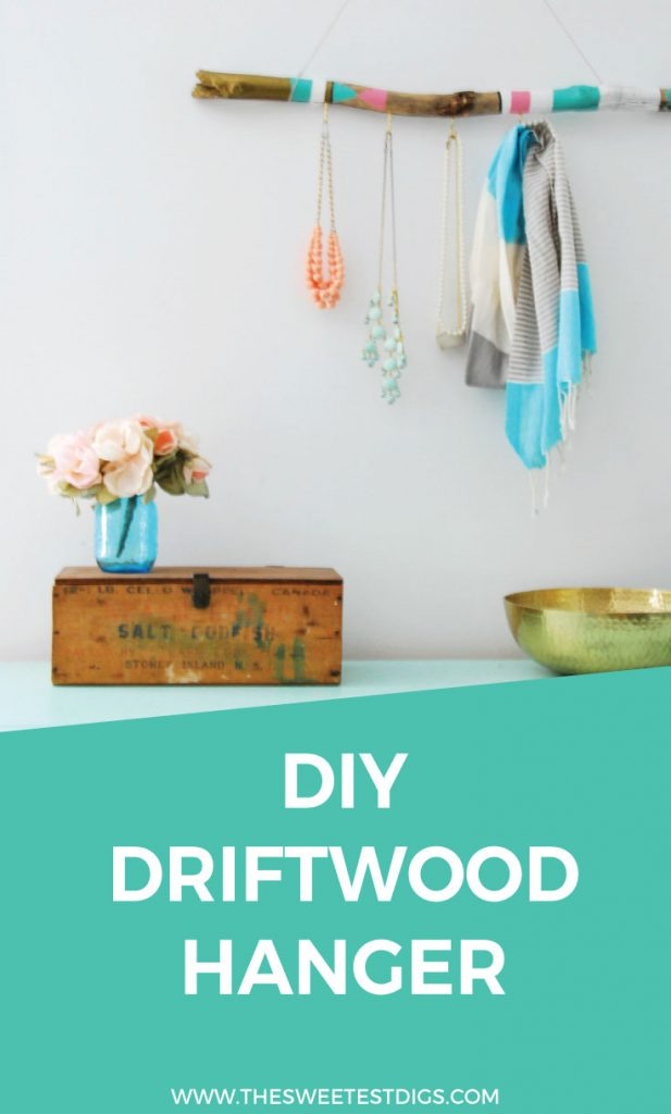 Want to make a jewelry hanger? How about this DIY version using a piece of driftwood and some paint. So cute, right? Love the boho eclectic feel and it looks amazing hung up on the wall. Turns your necklaces into art! Click through for the full tutorial.