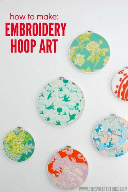DIY embroidery hoop art tutorial - via the sweetest digs
