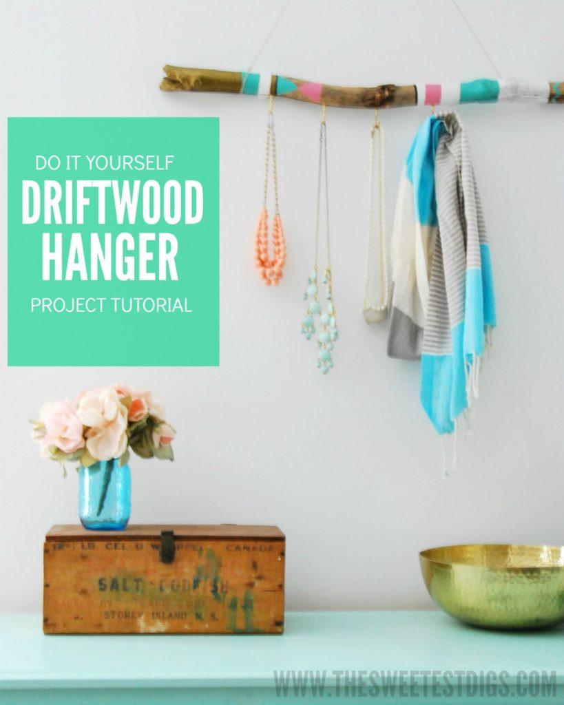 DIY painted driftwood hanger
