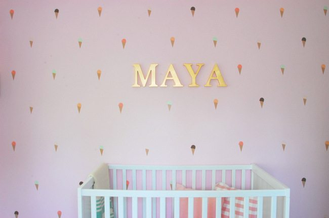DIY, accent wall, nursery design, pink, ice cream cone decal
