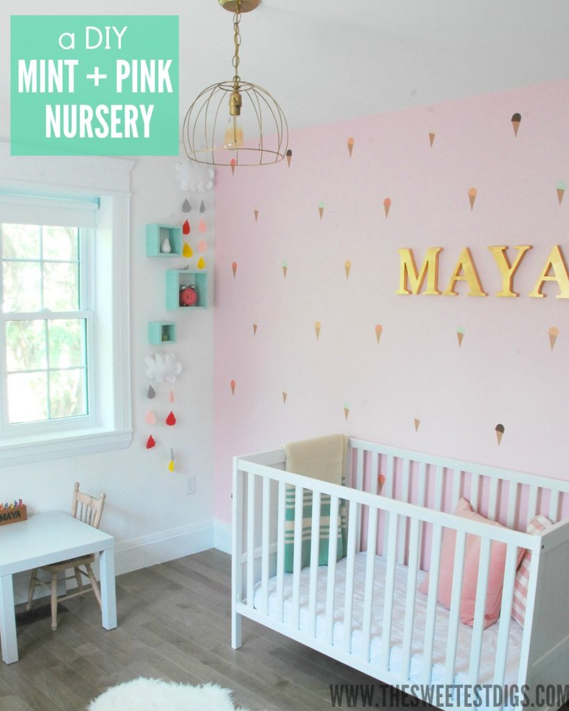 a DIY mint and pink girls nursery - via the sweetest digs