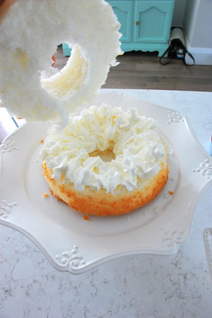 canada day dessert - angel food cake with strawberries and whipped cream - via the sweetest digs