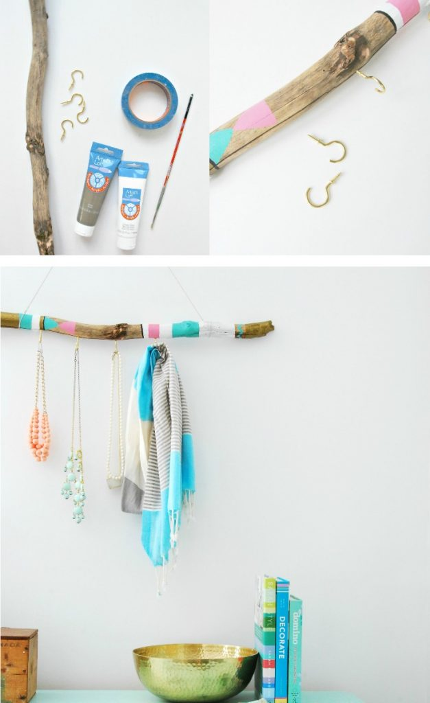 lovely Driftwood Jewelry Holder Part - 16: Want to make a jewelry hanger? How about this DIY version using a piece of