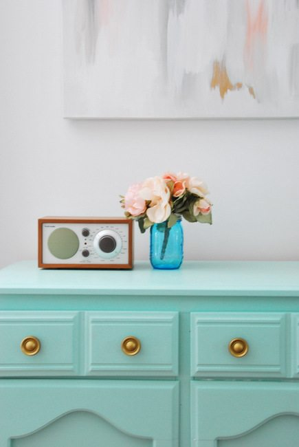 a DIY mint and gold dresser makeover - via the sweetest digs
