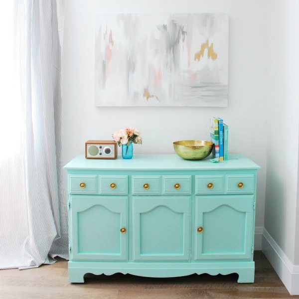 mint + gold dresser makeover