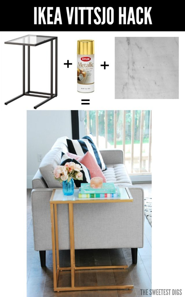 ikea hack turn the vittsjo into a gold and marble side table the sweetest. Black Bedroom Furniture Sets. Home Design Ideas