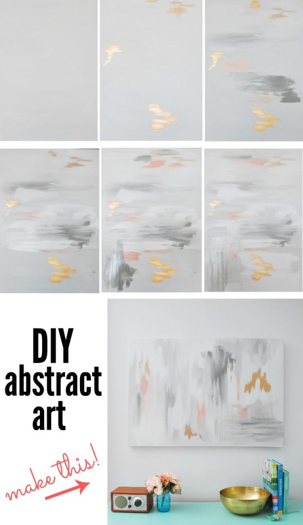 DIY abstract art step by step tutorial - via the sweetest digs