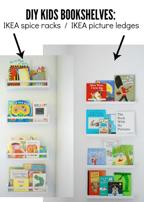 Kids Bookshelves Comparison  IKEA Spice Racks And IKEA Picture Ledges   Via  The Sweetest Digs