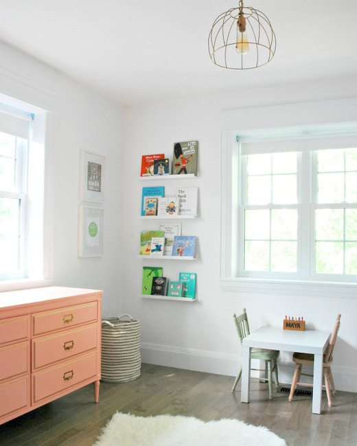 make kids bookshelves using IKEA ribba picture ledges - via the sweetest digs