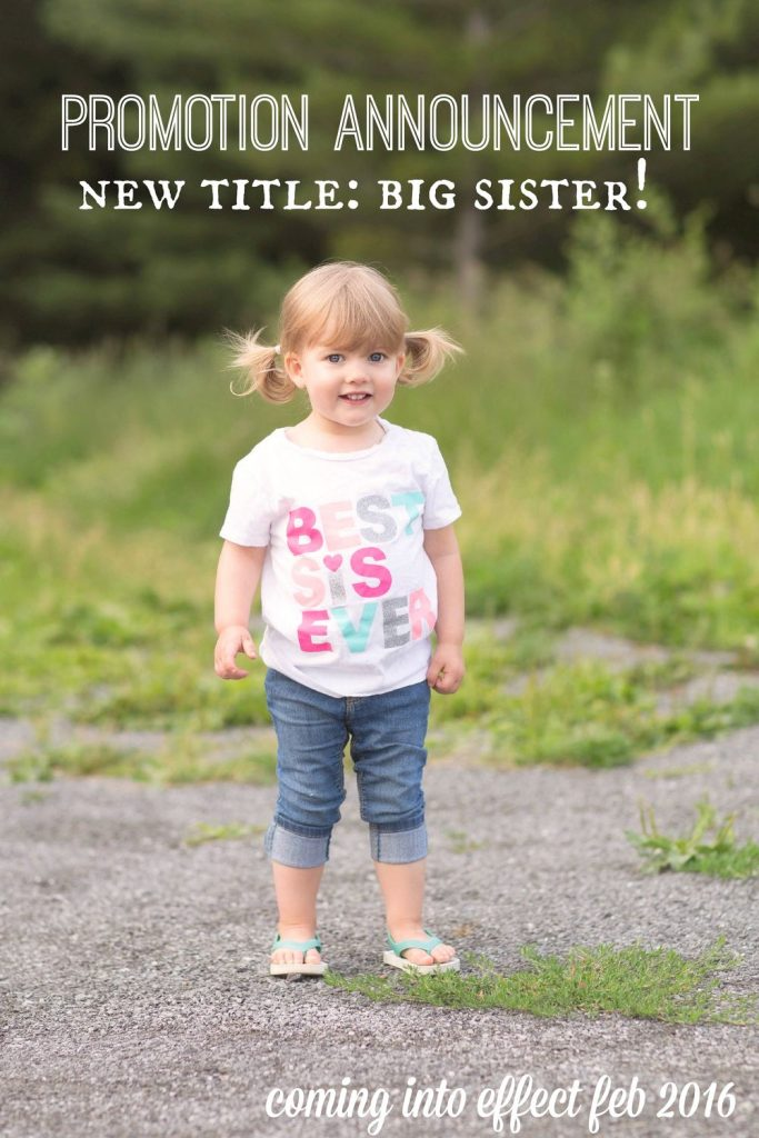 DIY pregnancy announcement - big sister getting a promotion!