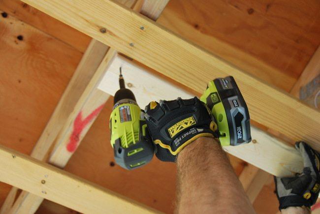 Cedar Porch Ceiling   Ryobi Drill