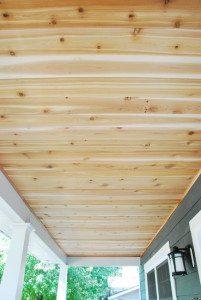 how to: a DIY cedar lined porch ceiling