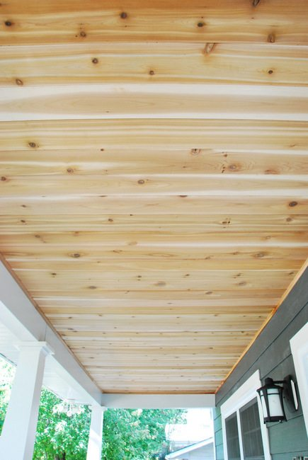 Step by step tutorial on how to DIY a cedar lined porch ceiling