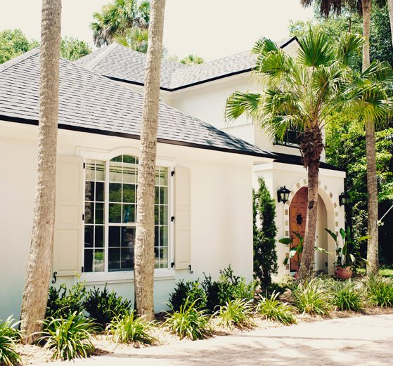 Mediterranean Spanish Home | Exterior | Curb Appeal | Beige Stucco Home