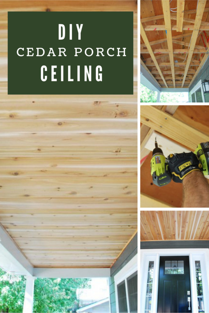 Collage images showing progress and a completed cedar porch ceiling.