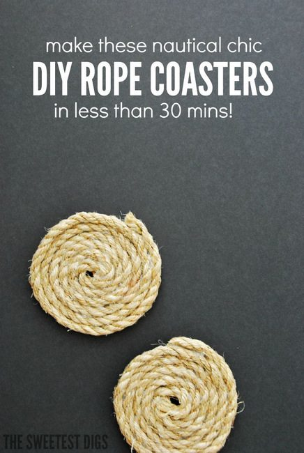 make these DIY nautical chic rope coasters - super easy DIY project!