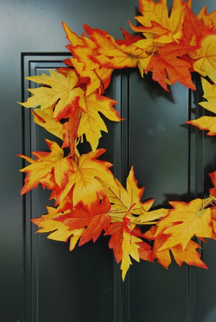 Simple DIY Fall Leaf Wreath for less than $5