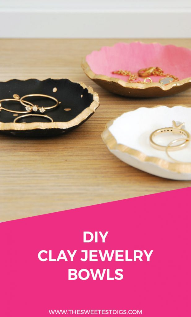 Make these super sweet DIY air dry clay jewelry bowls! So simple and budget friendly. Plus the little gold details are to die for. They make a great handmade gift! Click through for the full how to tutorial and source list.