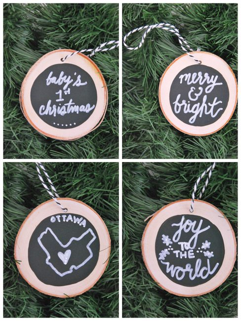 How to make DIY chalkboard wood slice christmas ornaments. Super easy and a great handmade gift idea!