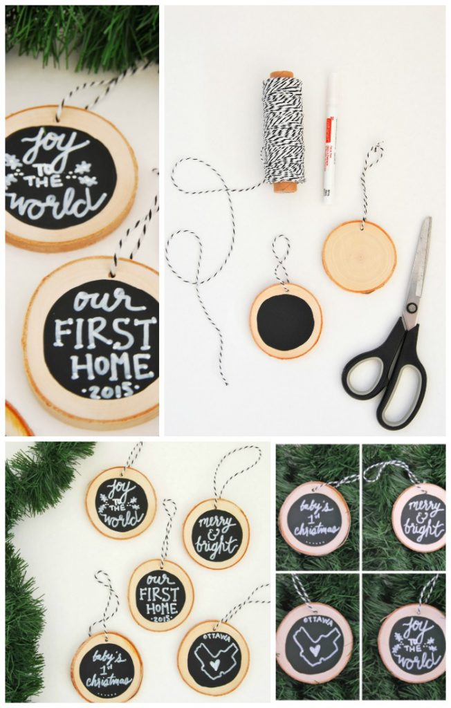 Want to make some handmade DIY christmas ornaments? These rustic, farmhouse-style ornaments use wood slices, chalkboard paint, and chalk! Plus you can personalize and customize each one! They make a perfect handmade gift idea. Click through for the tutorial and where to get the supplies.