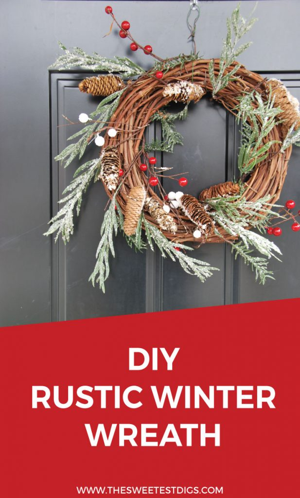 Want to make a rustic christmas wreath? This one is so easy and pretty. Make your front door winter wonderland ready! Click through for the full DIY tutorial.