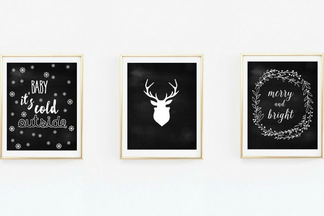 Looking for some DIY holiday decorating ideas? Here are 12 FREE art print christmas printables! Print at home and hang in frames, with washi tape, place on a mantle, so many options. From red and green, to chalkboard, to chic gold and black, there is something for all holiday decorating schemes. Click here to download!