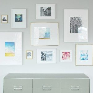 gallery wall + DIY mattes for IKEA Ribba frames