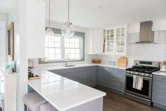A Gray And White Kitchen Makeover Using IKEA Cabinetry, Marble Like Quartz  Countertops, Subway