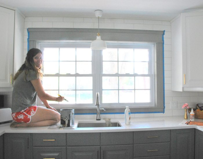 white kitchen cabinets quartz countertops. A gray and white kitchen makeover using IKEA cabinetry  quartz countertops subway tile Gray White Kitchen Transformation the sweetest digs