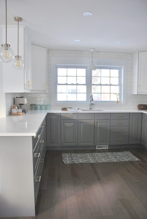 A gray and white ikea kitchen transformation the for Kitchen designs white and grey