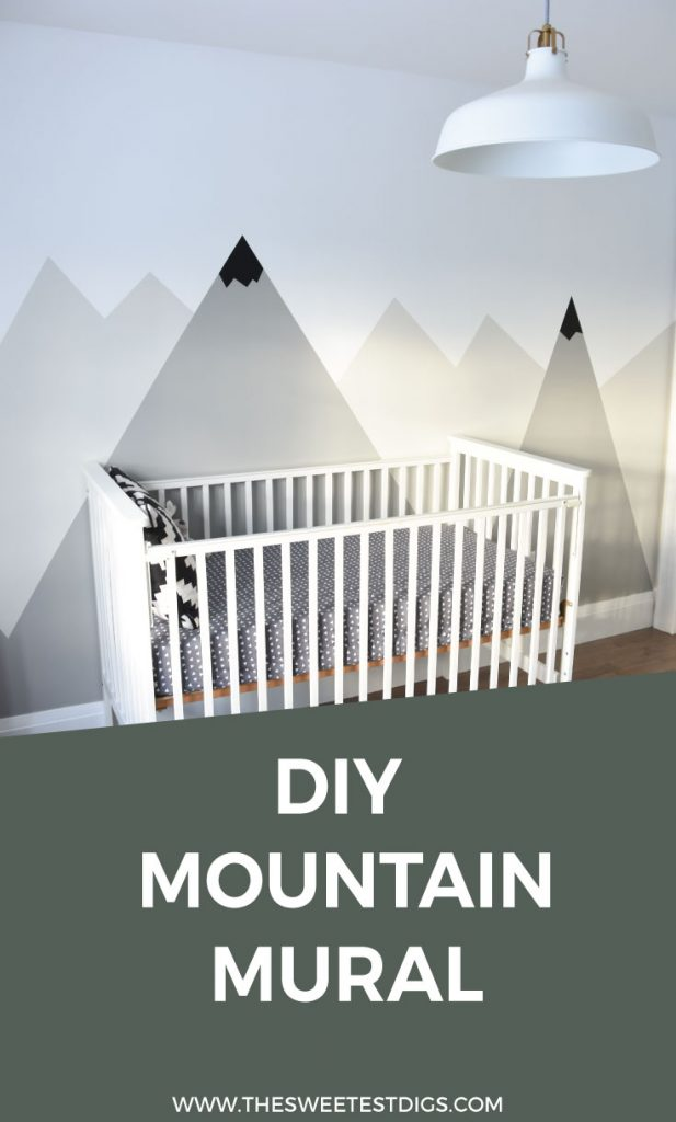Looking for an amazing kids room or nursery decor idea? DIY this painted mountain range mural. It's easy and budget friendly! Perfect for a graphic, black and white room with a camping and adventure theme. Click for the full how-to tutorial.
