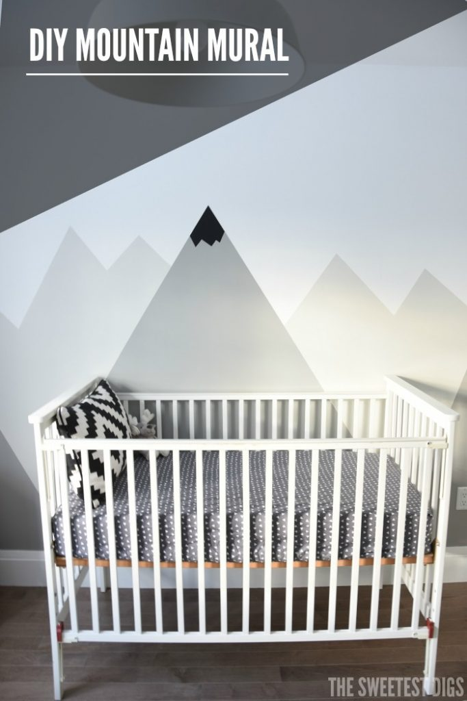 A nursery diy mountain mural the sweetest digs for Diy mountain mural