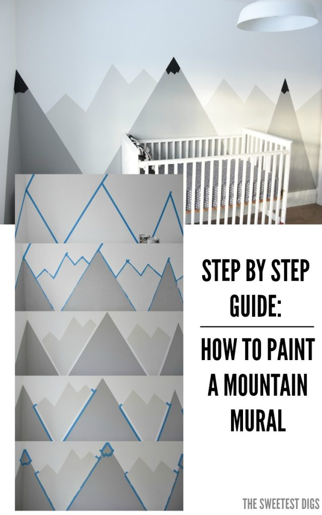 Looking for an amazing kids room or nursery decor idea? DIY this painted  mountain range