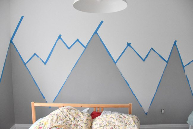 How to paint a diy nursery mountain mural no art skills for Diy wall mural ideas